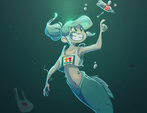 被海洋垃圾汙染後的小美人魚